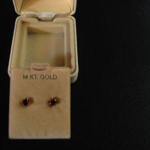 Jewelry - 14 KT Yellow Gold 4 MM Garnet Earrings